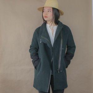 madewell green city grid wool cocoon coat